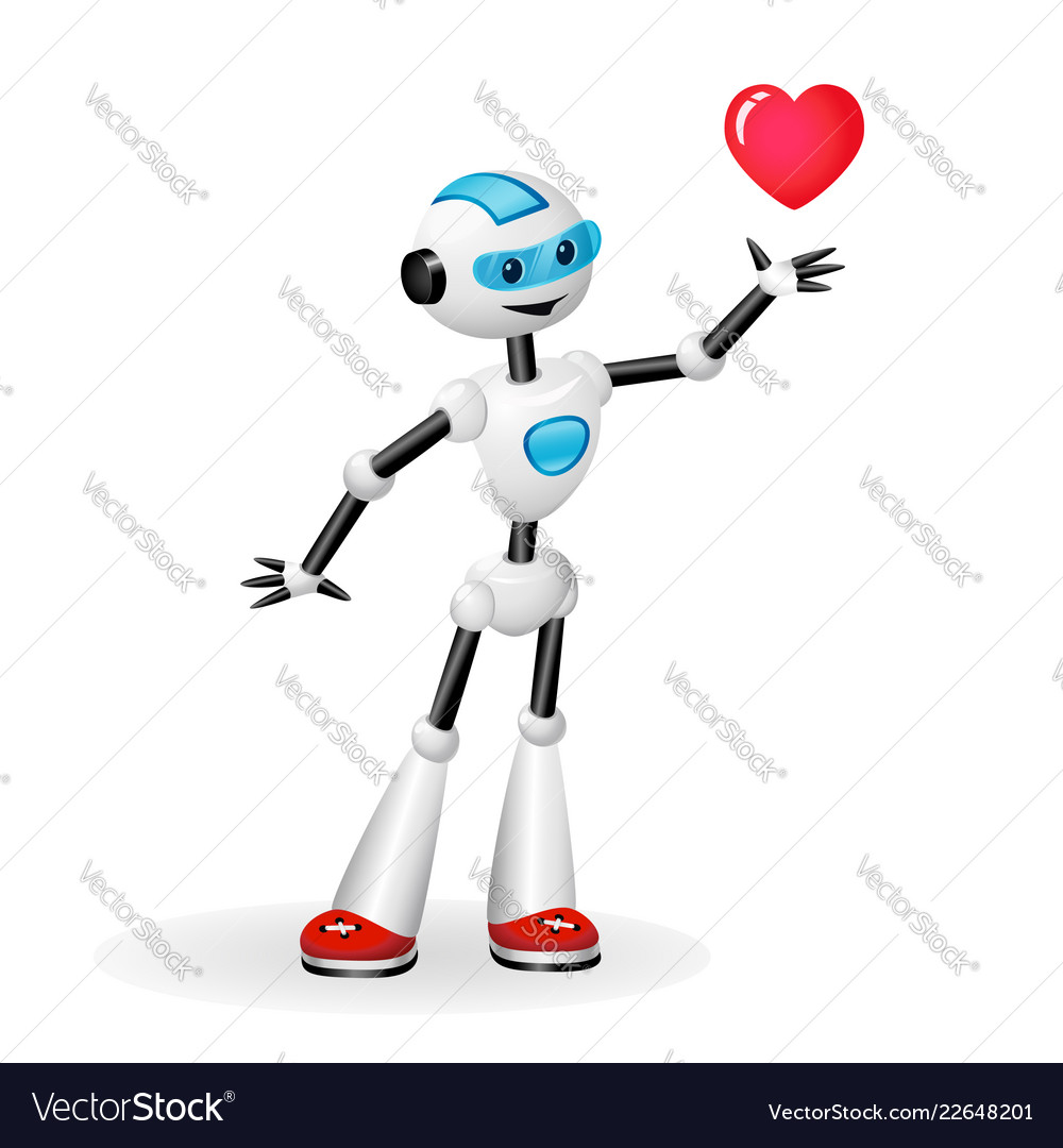 Robot with heart isolated on white background