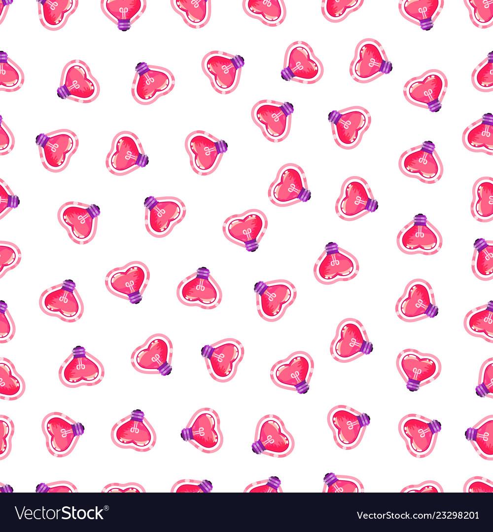 Seamless pattern of pink heart light bulb