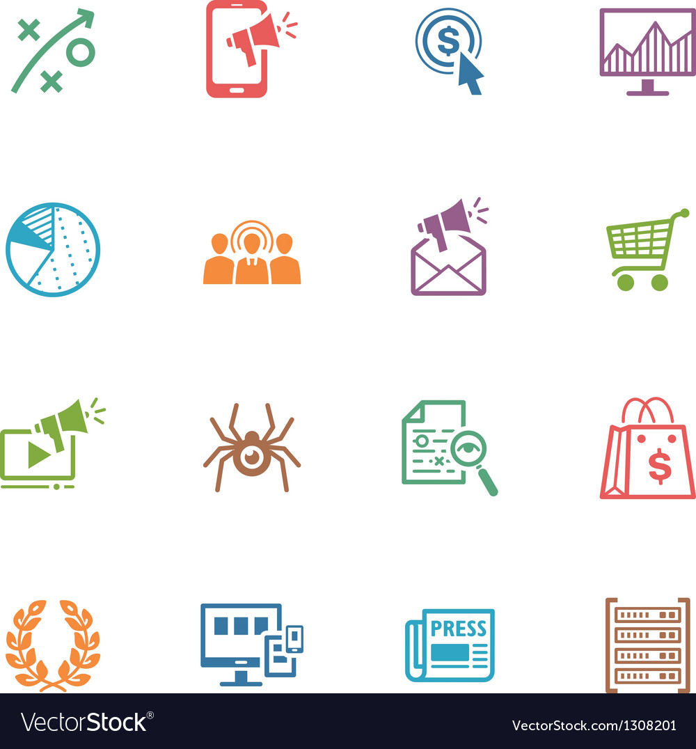 SEO and Internet Marketing Colored Icons - Set 3