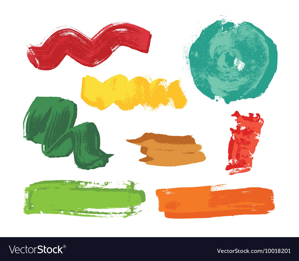 Set of colorful grunge brush strokes vector image