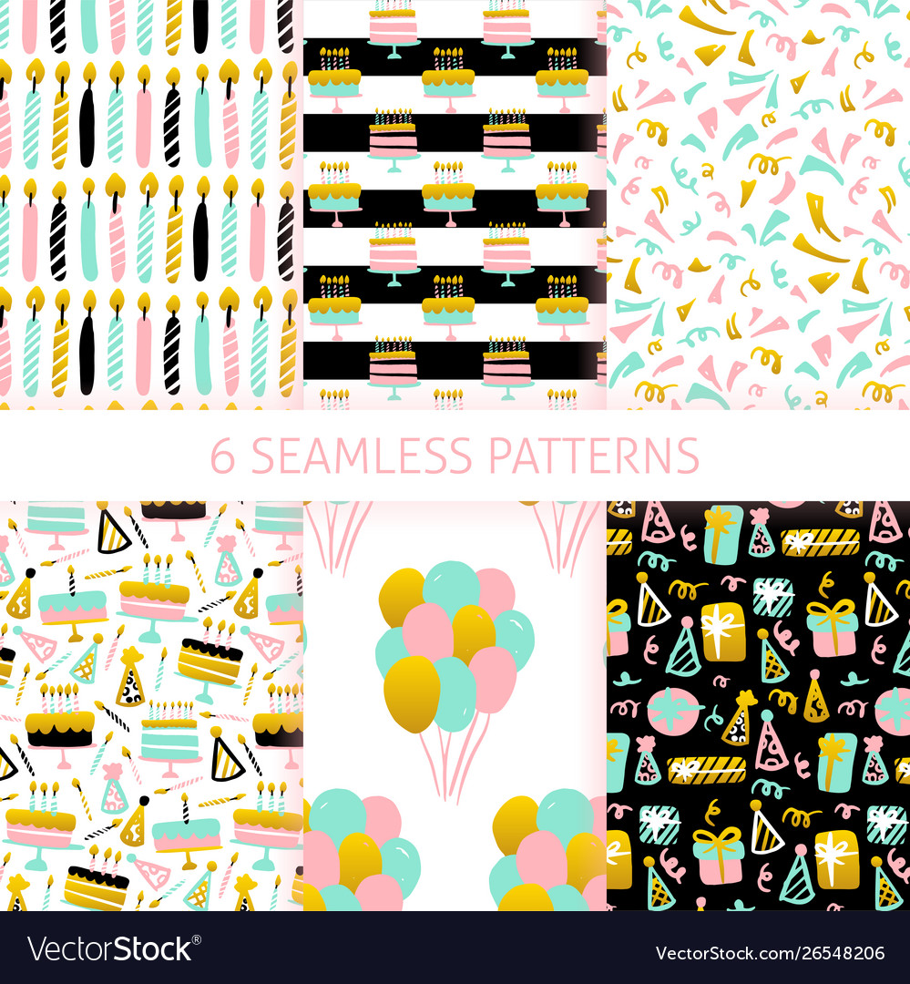 Birthday trendy seamless patterns