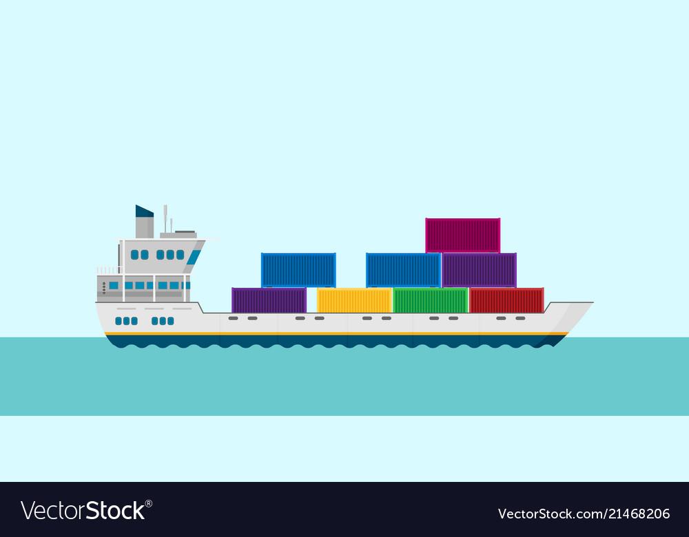 Cargo ship in sea flat style