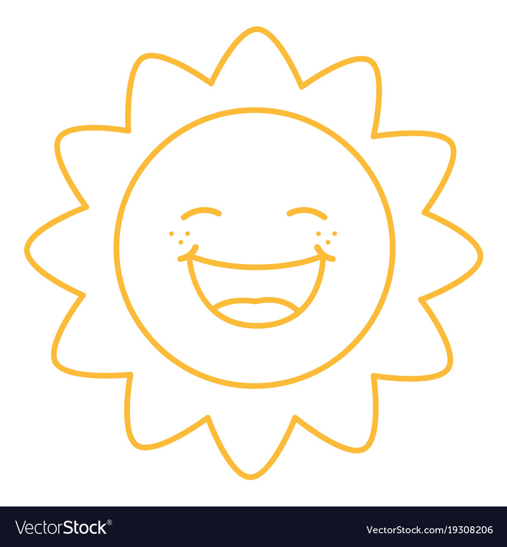 Coloring page of cartoon sun vector image