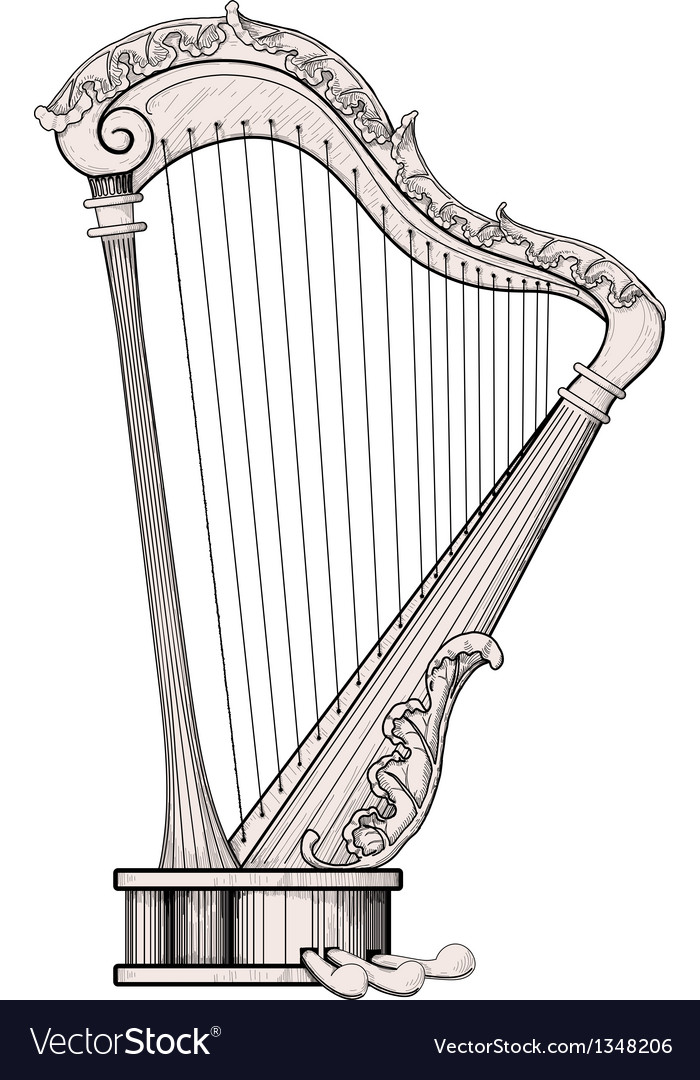 Decorated harp vector image