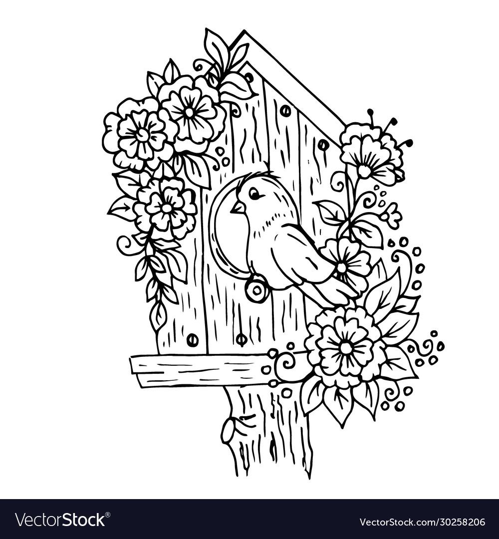 Doodle cartoon birdhouse with flowers and a bird