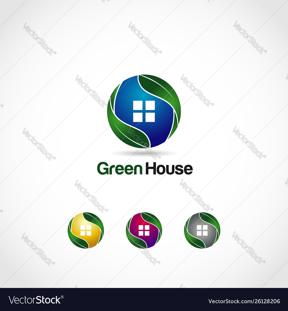 Green house logo symbol icon