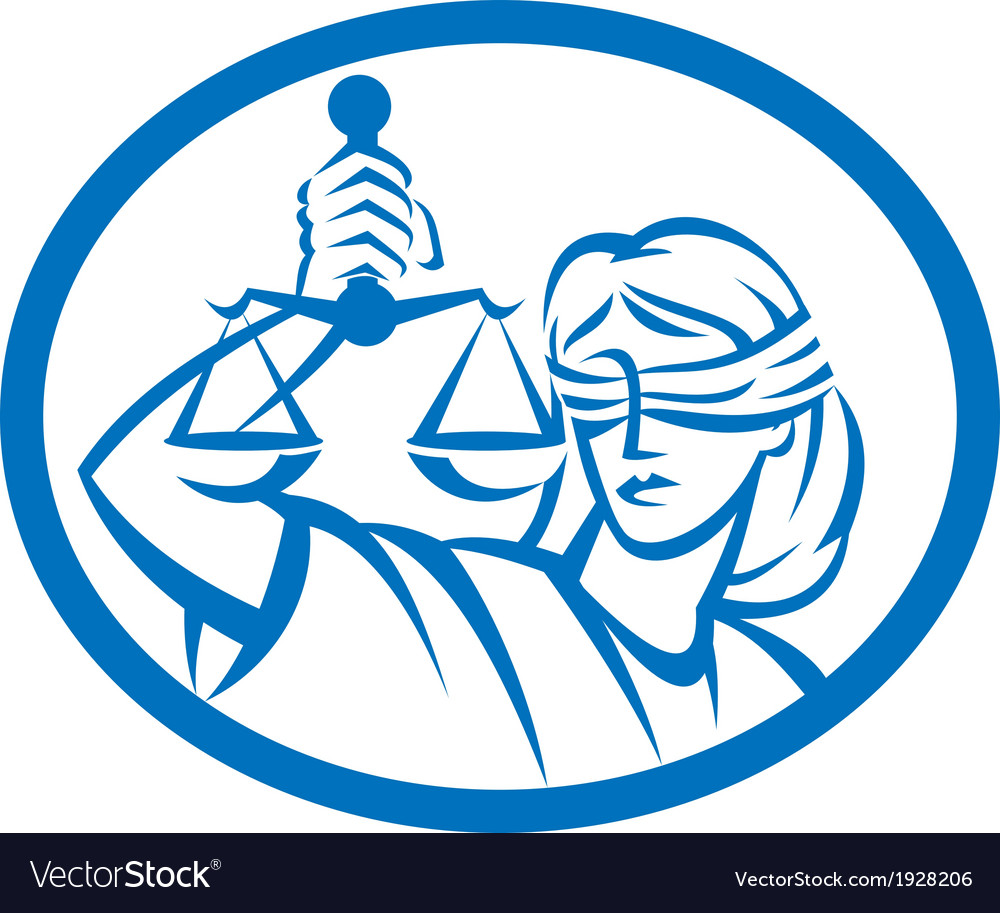 Lady Blindfolded Hold Scales Justice Oval vector image