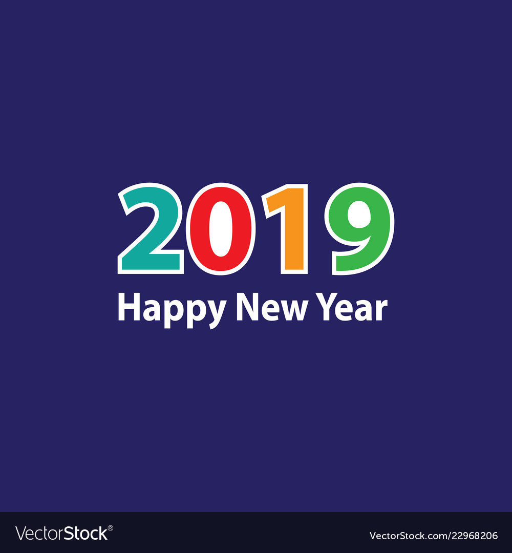 Modern colorful happy new year 2019