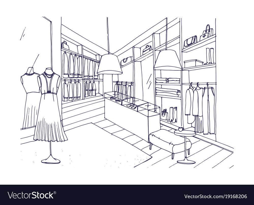 Outline drawing of fashionable clothing shop
