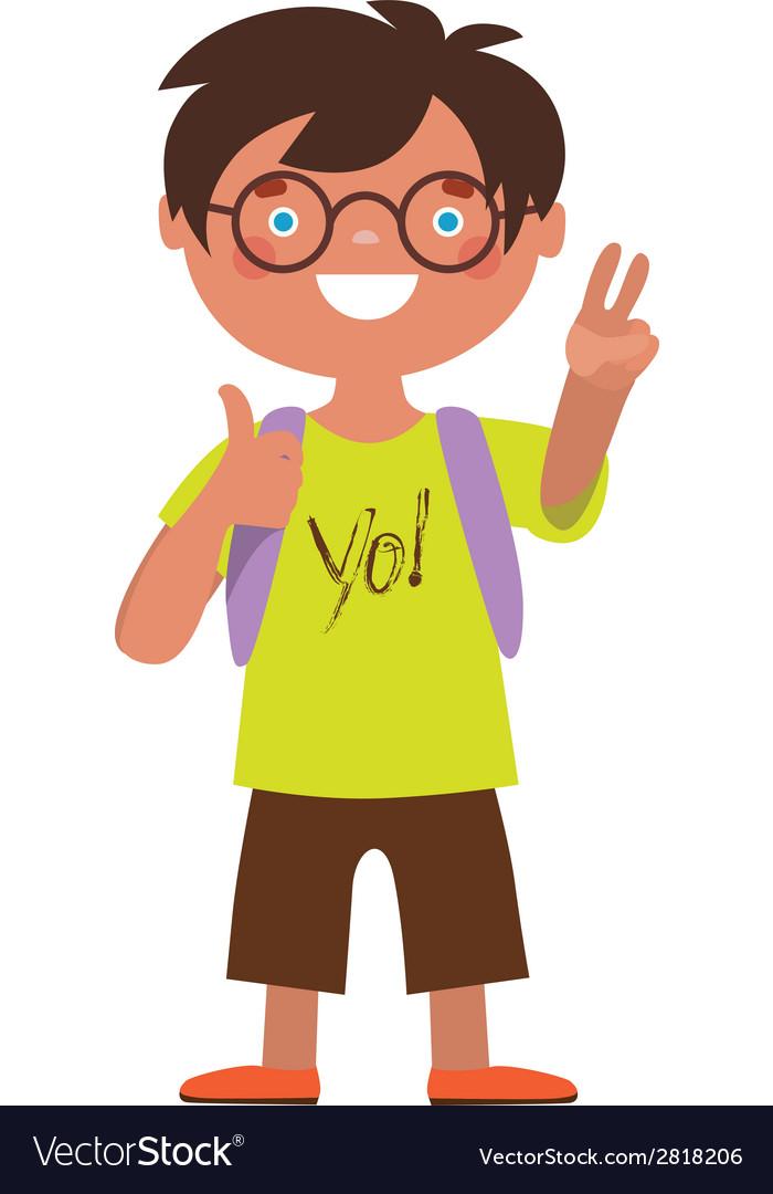 Schoolboy character vector image