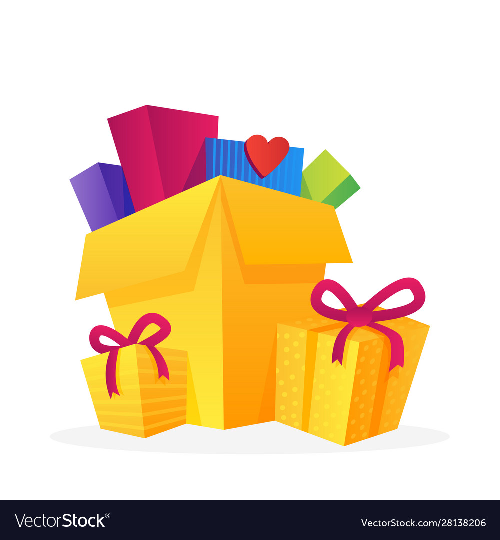 Set with big piles colorful wrapped gift boxes