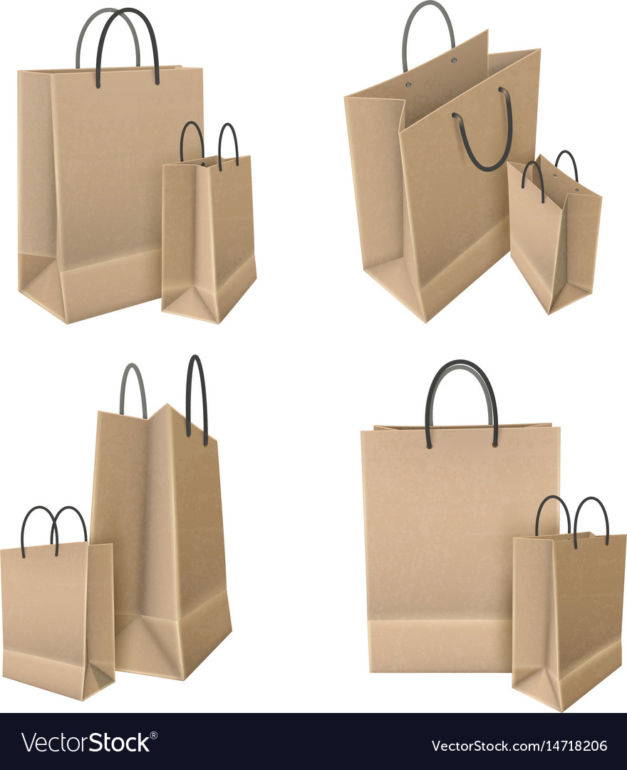 Shopping bags from craft paper set