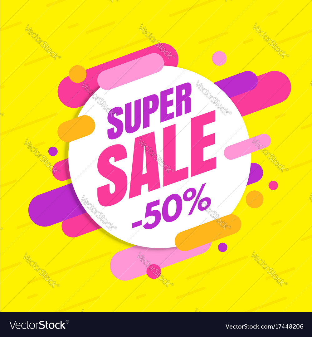 Super sale banner colorful and playful design