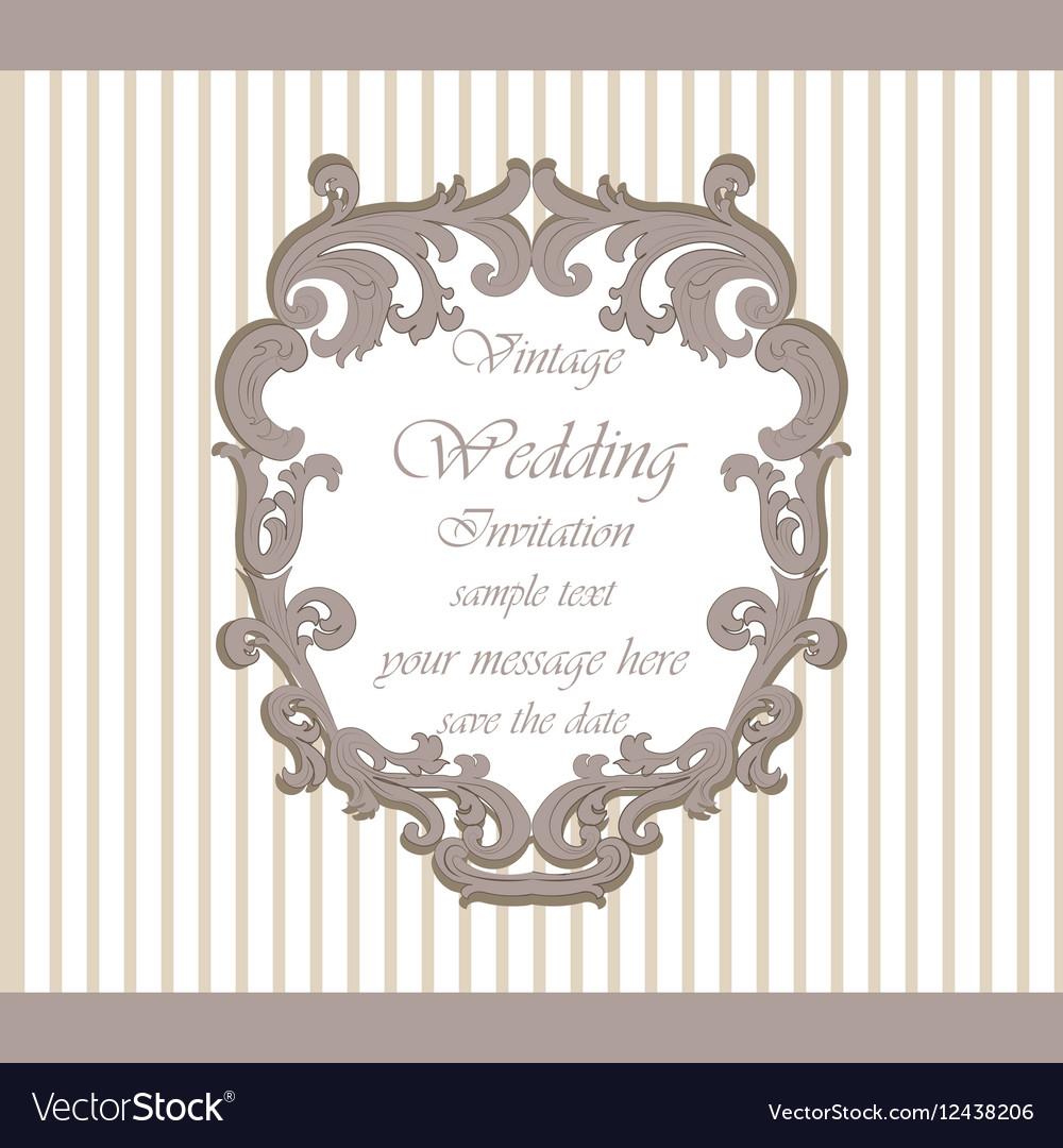 Wedding Invitation Card With Classic Ornaments