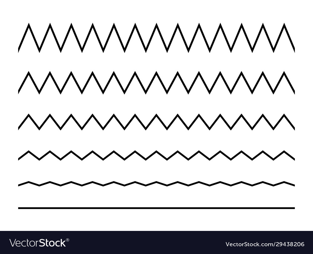 Zigzag seamless wave lines set wavy wiggly black
