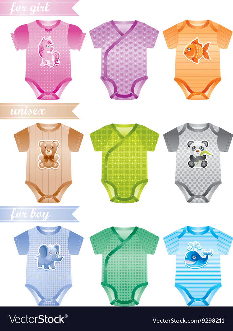 Baby clothes icon set with fashion girl boy and