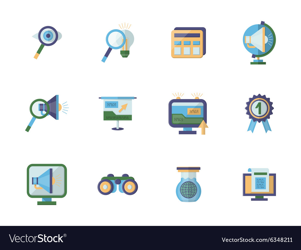 Business research flat color icons set