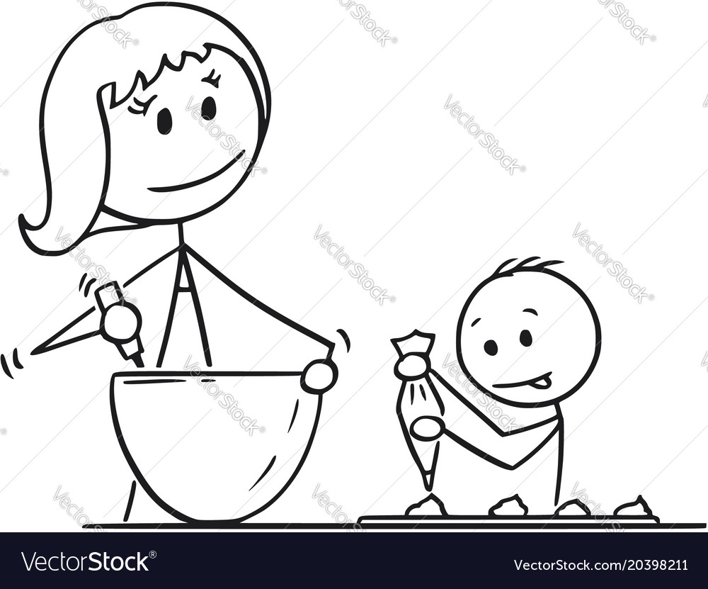 Cartoon Of Mother And Son Cooking Or Baking Vector Image