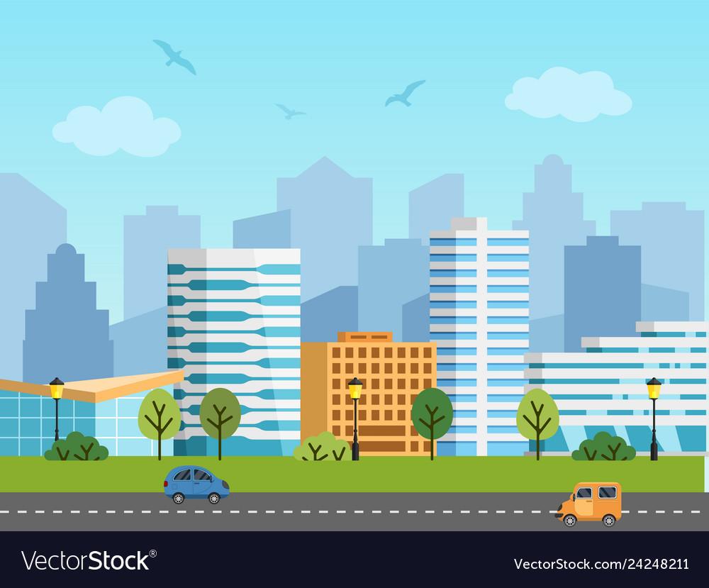 City urban landscape buildings and