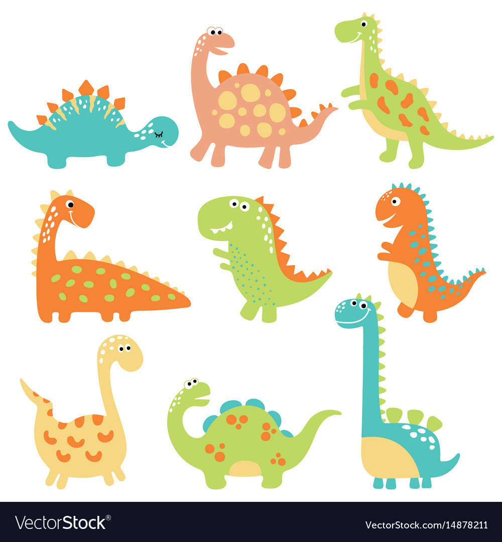 Cute cartoon dino vector image