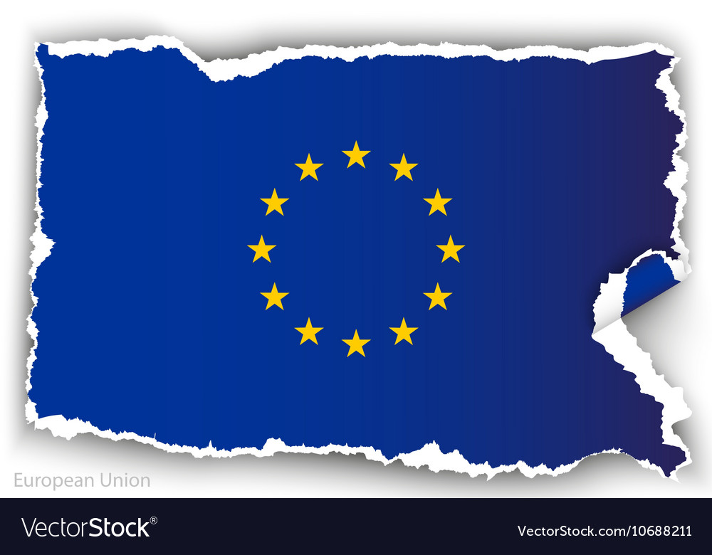 Design flag european union from torn papers with
