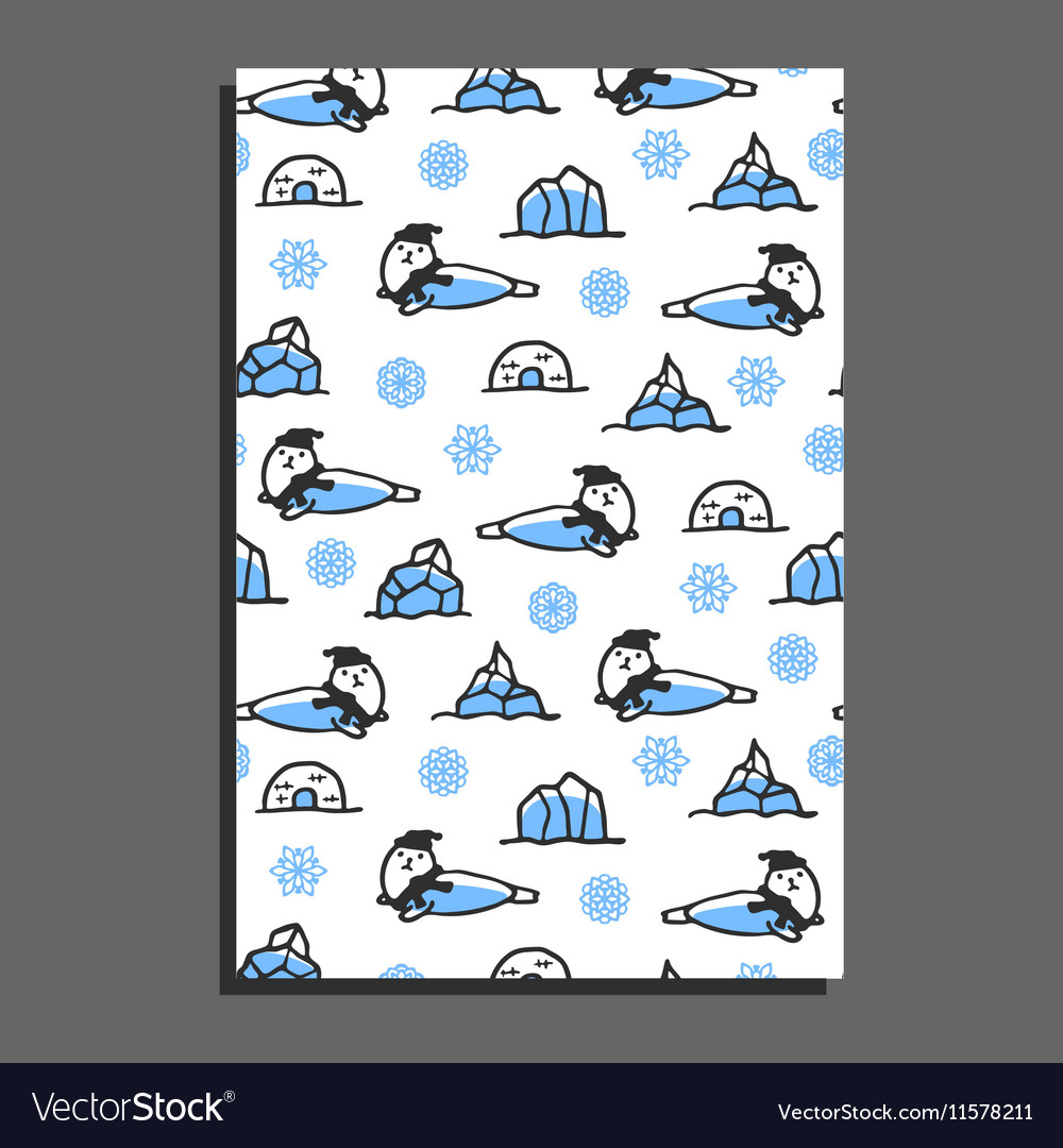 Greeting card template with cute cartoon seal