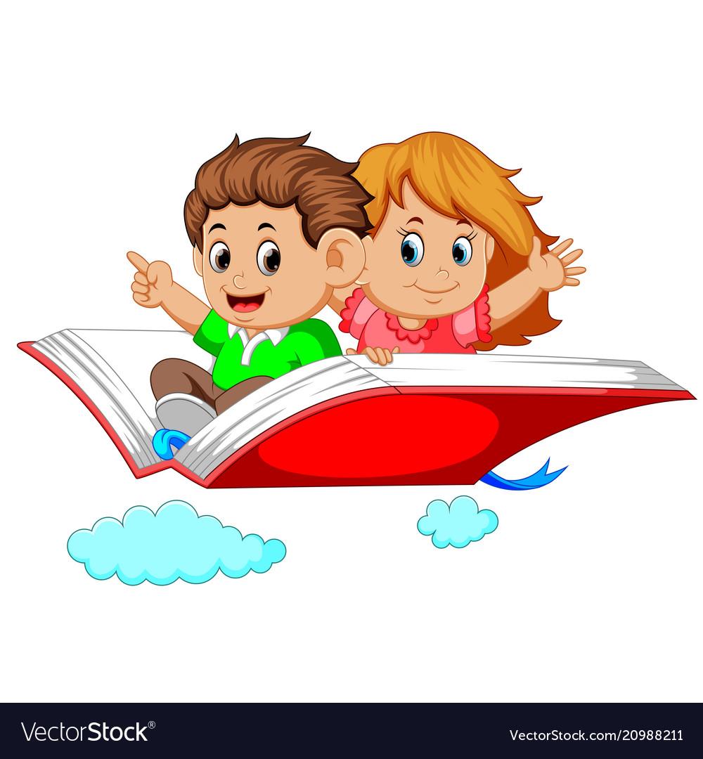 Happy kids flying on big open book