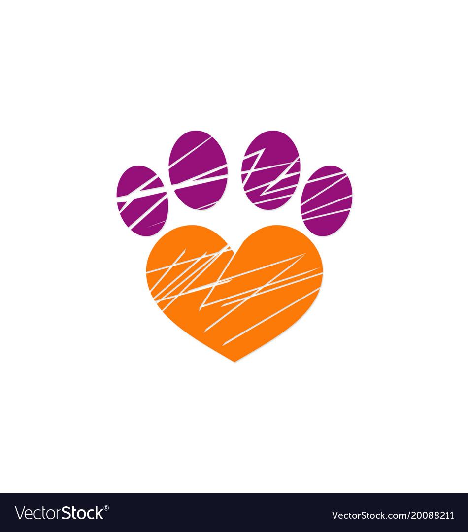 Love pet dog foot logo vector image