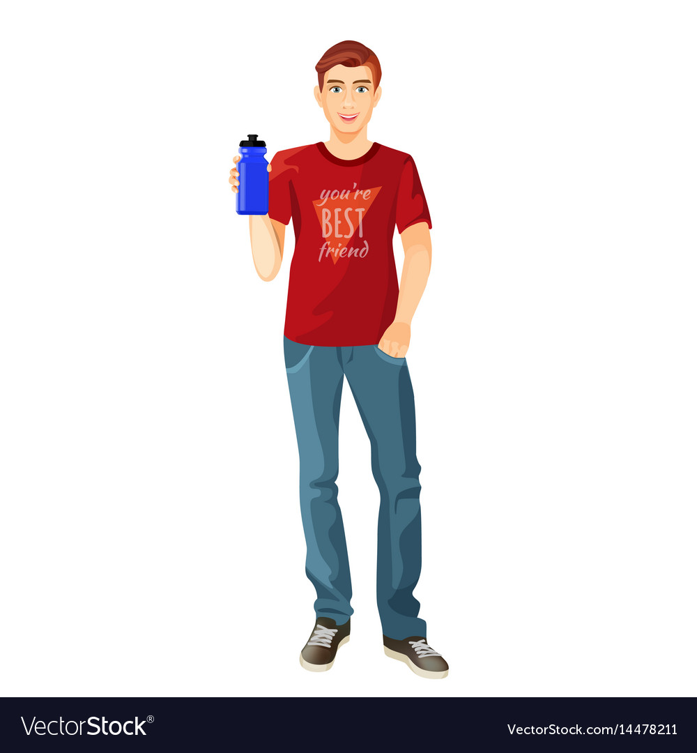 Man in t-shirt and jeans with plastic flask of