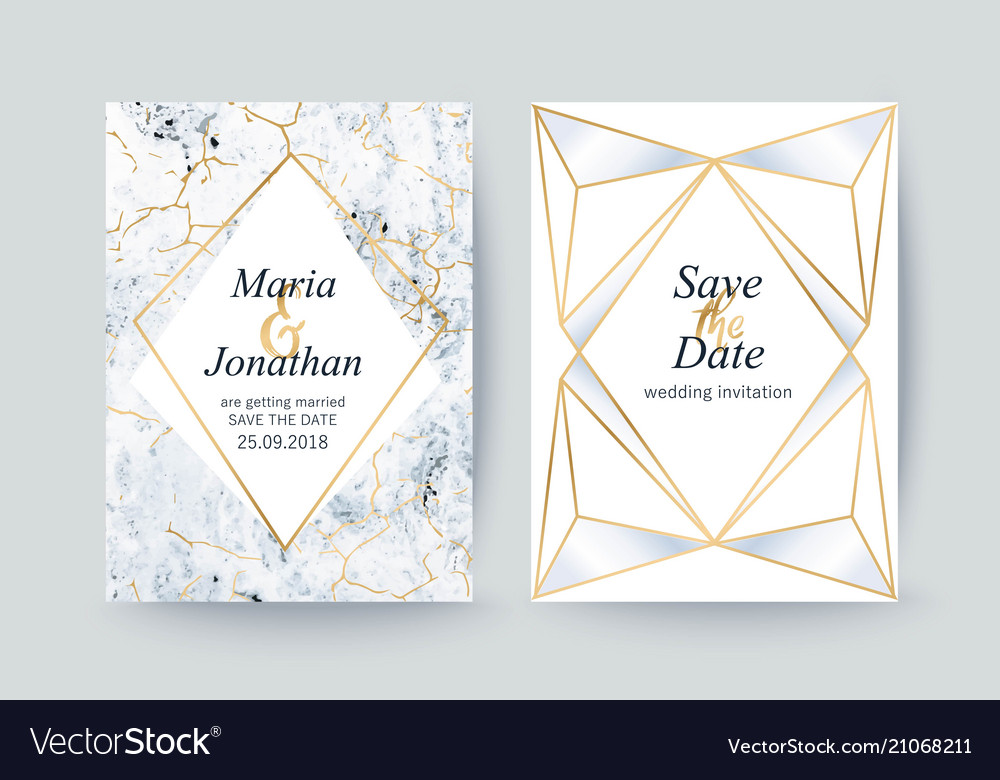 Marble gold texture card wedding invitation vector image stopboris Gallery