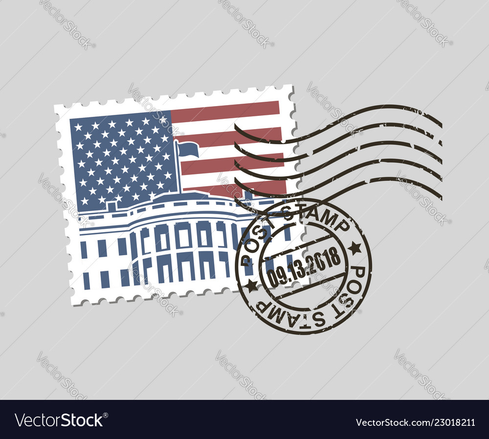 Postage stamp with american symbols