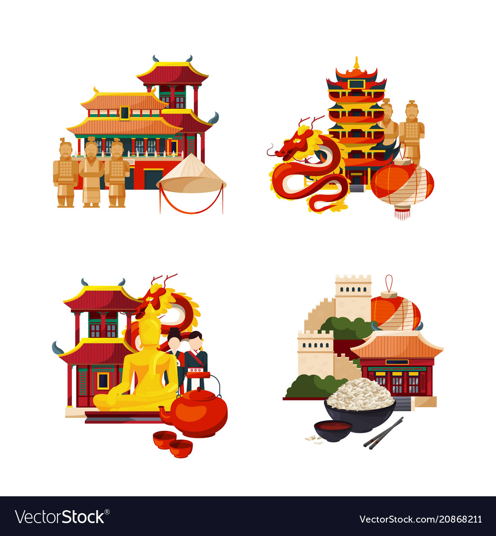 Set of flat style china elements and sights