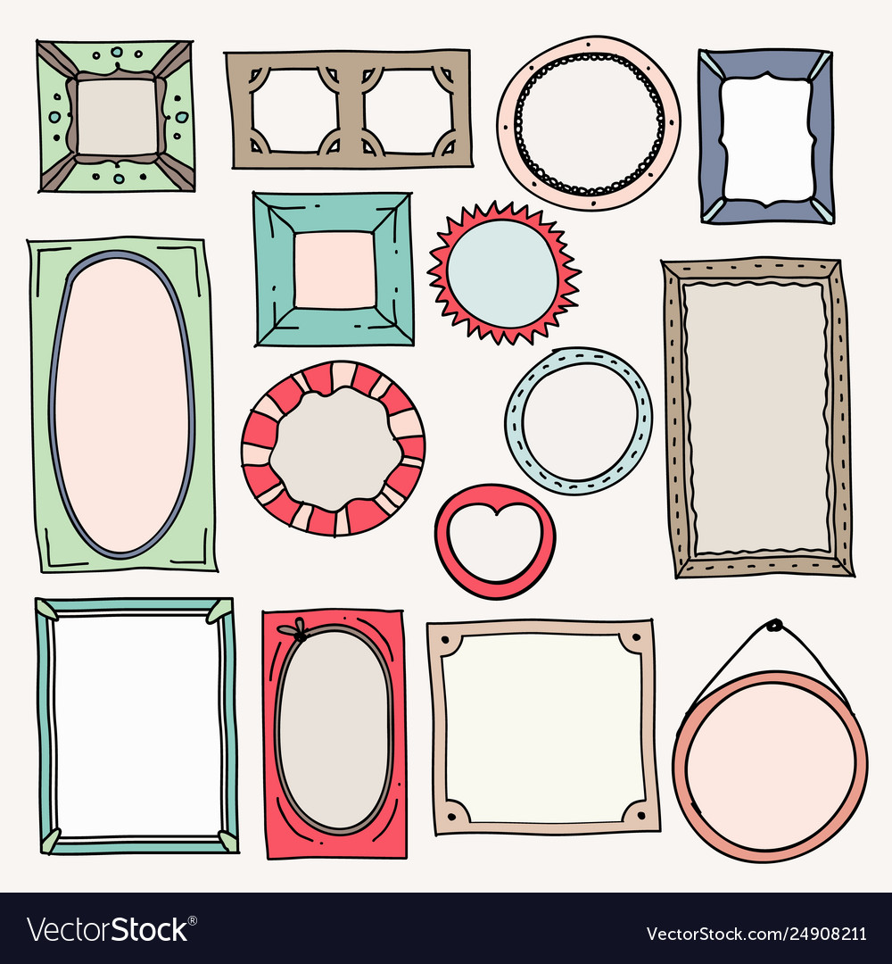 Sketch color frames vintage photo frame hand vector