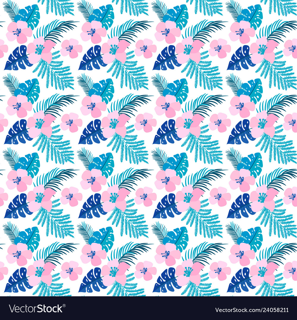 Summer seamless pattern with flat flowers