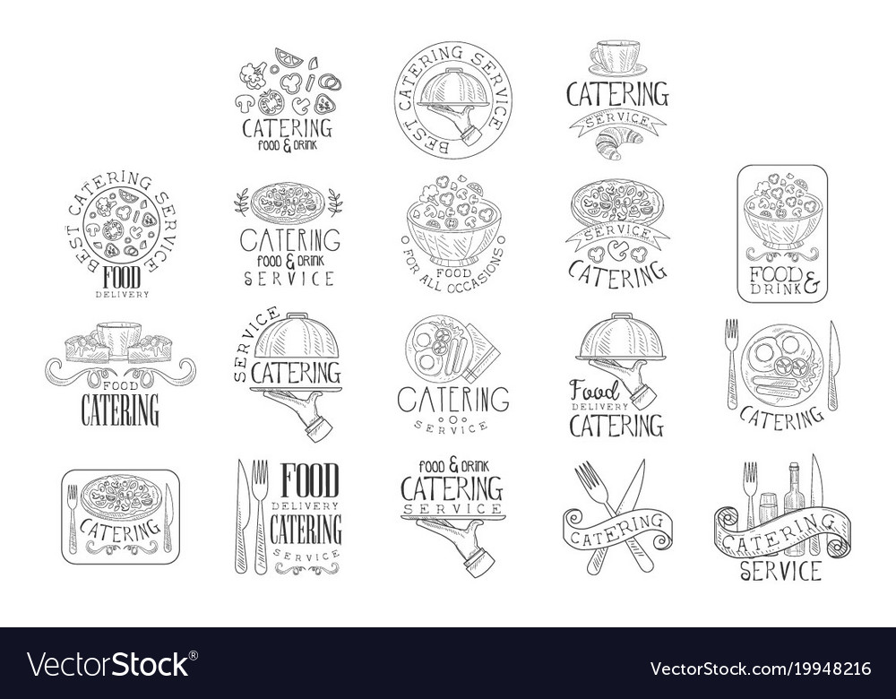 Best quality catering service set of hand drawn