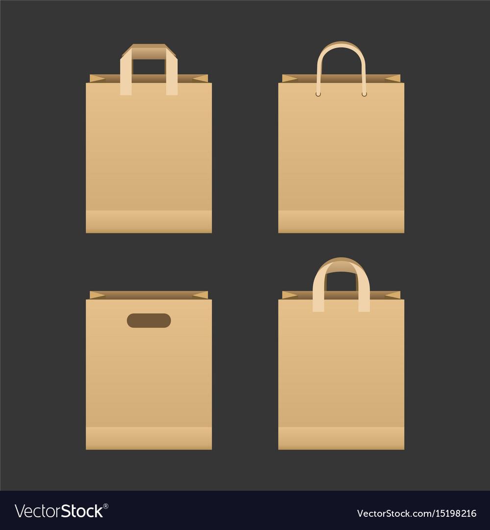Brown paper shopping bag set