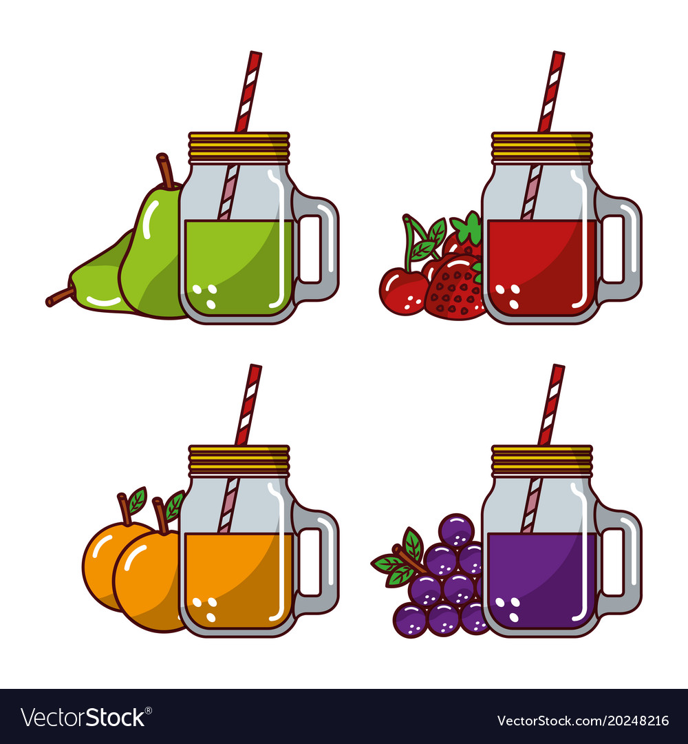 Collection fruits juices glass straw fresh natural