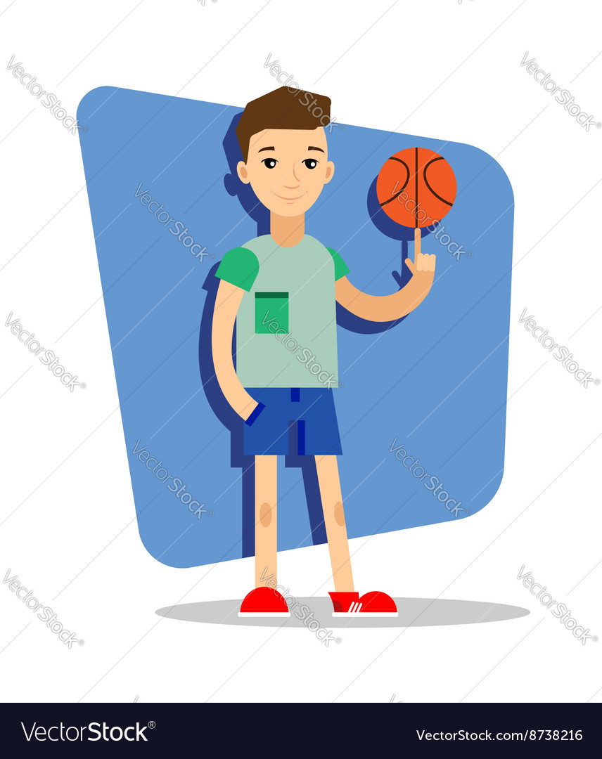 Flat basketball player with ball in the hand