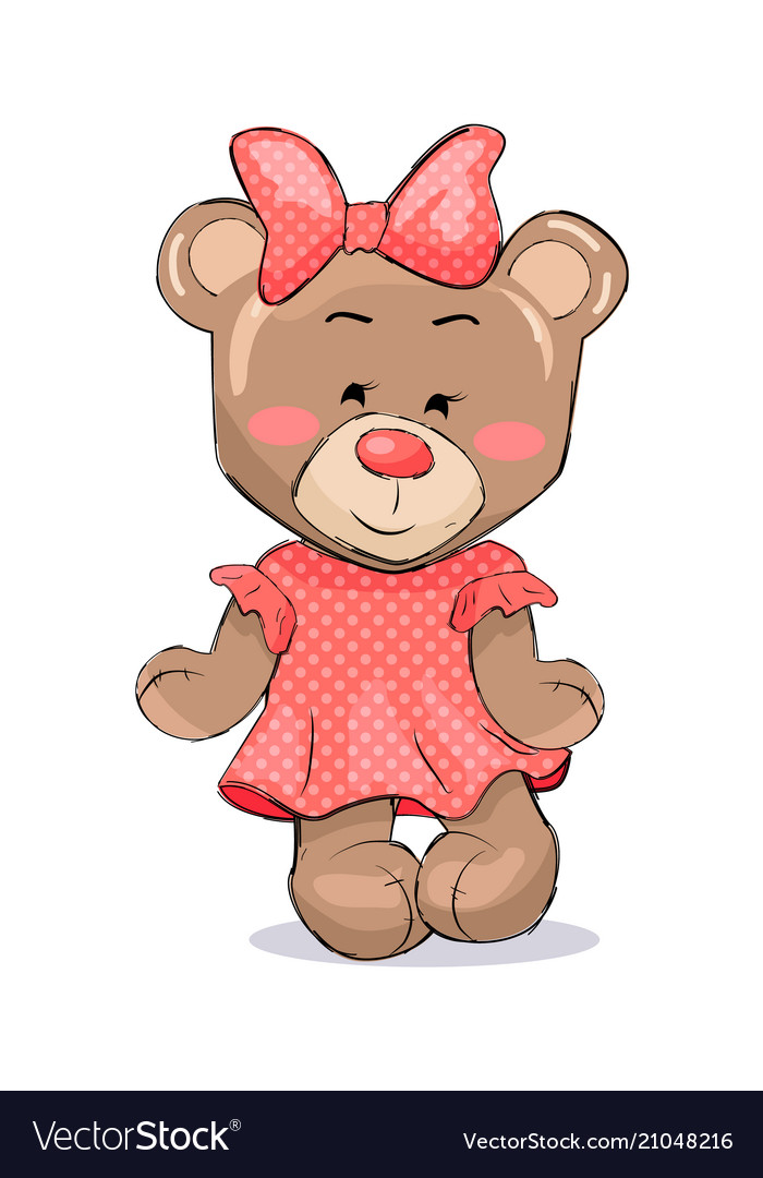 Fluffy bear female animal in pink dotted dress bow