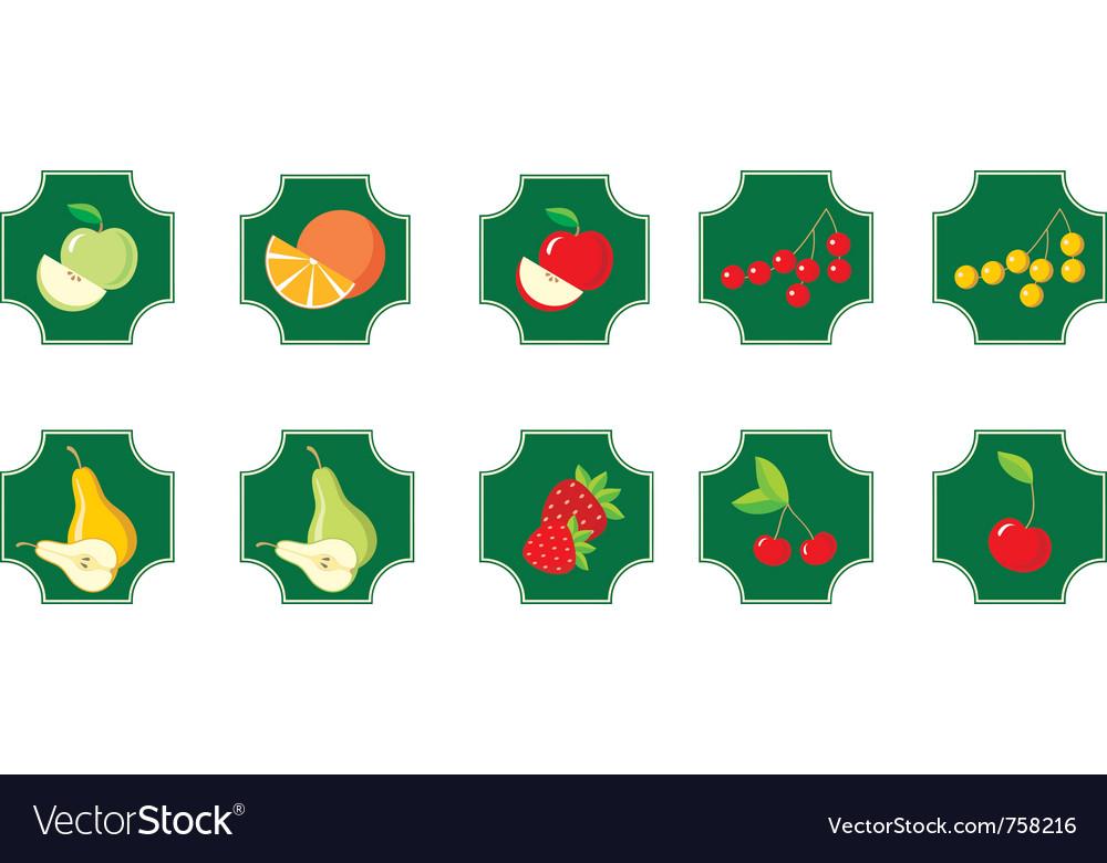 Fruits set of icons