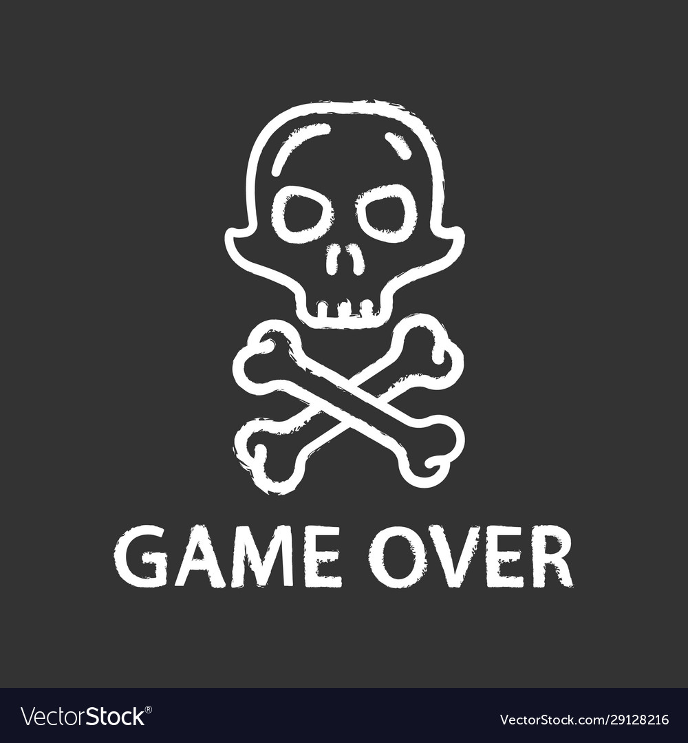 Game over chalk icon virtual video end