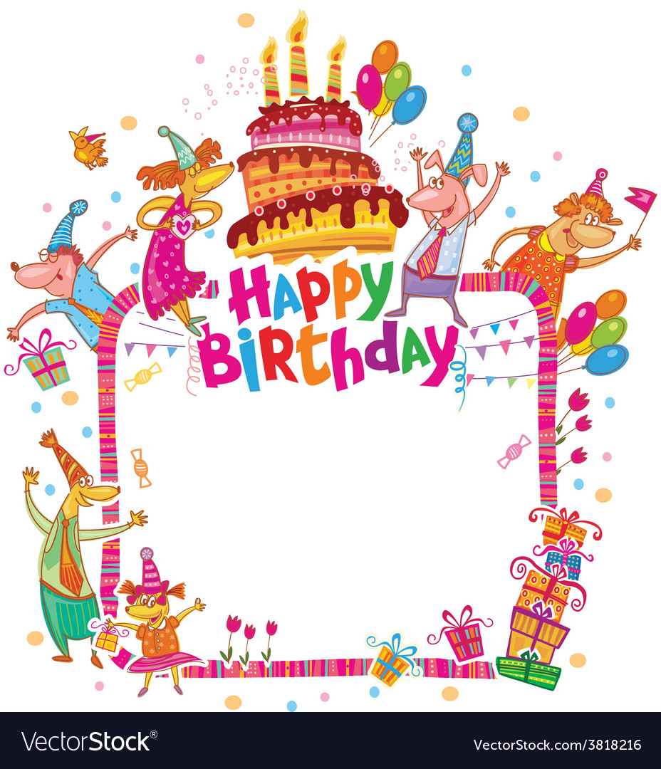 Happy Birthday Card With Place For Text Royalty Free Vector