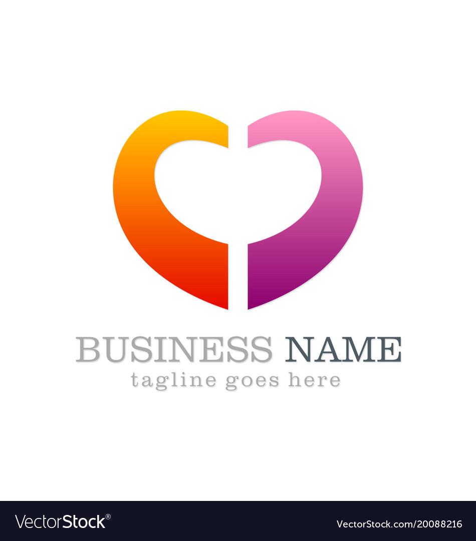 Love shape colored business logo