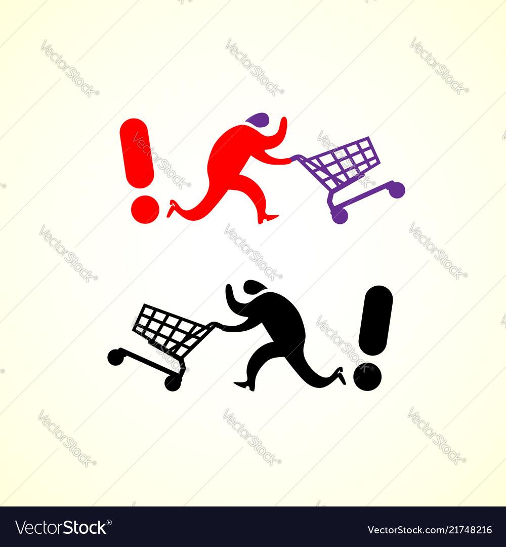 Running man pushing shopping cart icon shopping