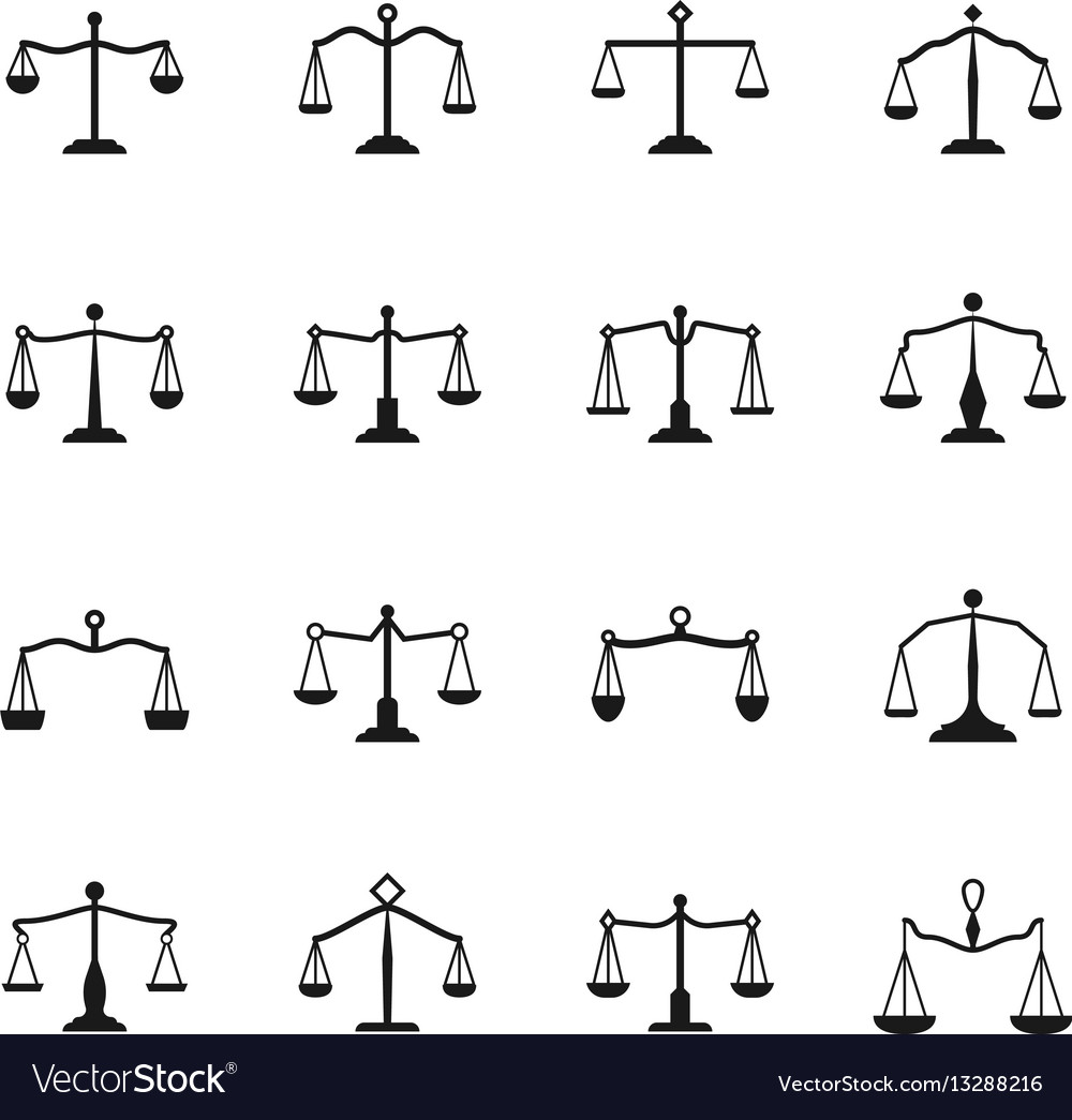 Scales icons balance antique libra set for
