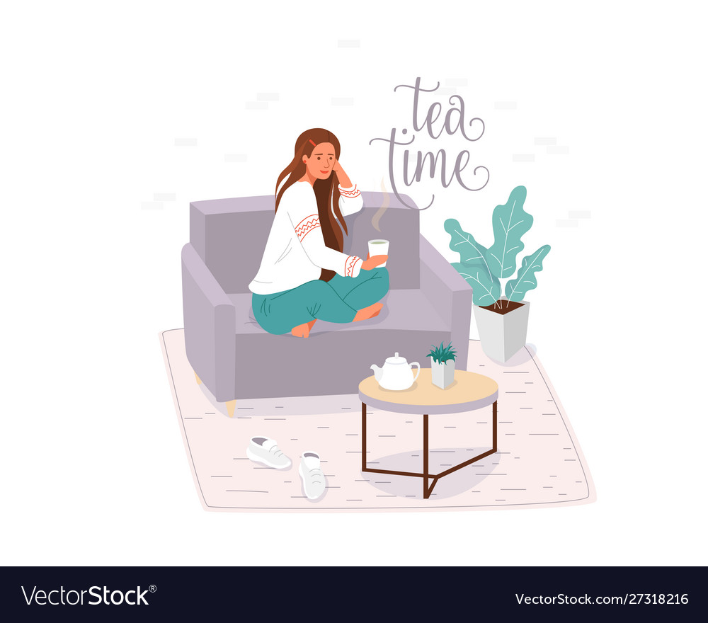 Tea time flat banner template vector