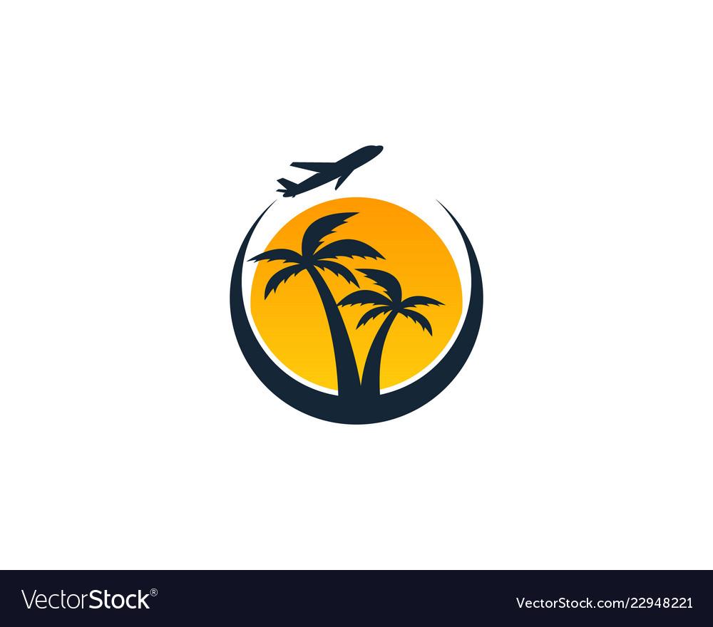 Beach travel logo icon design