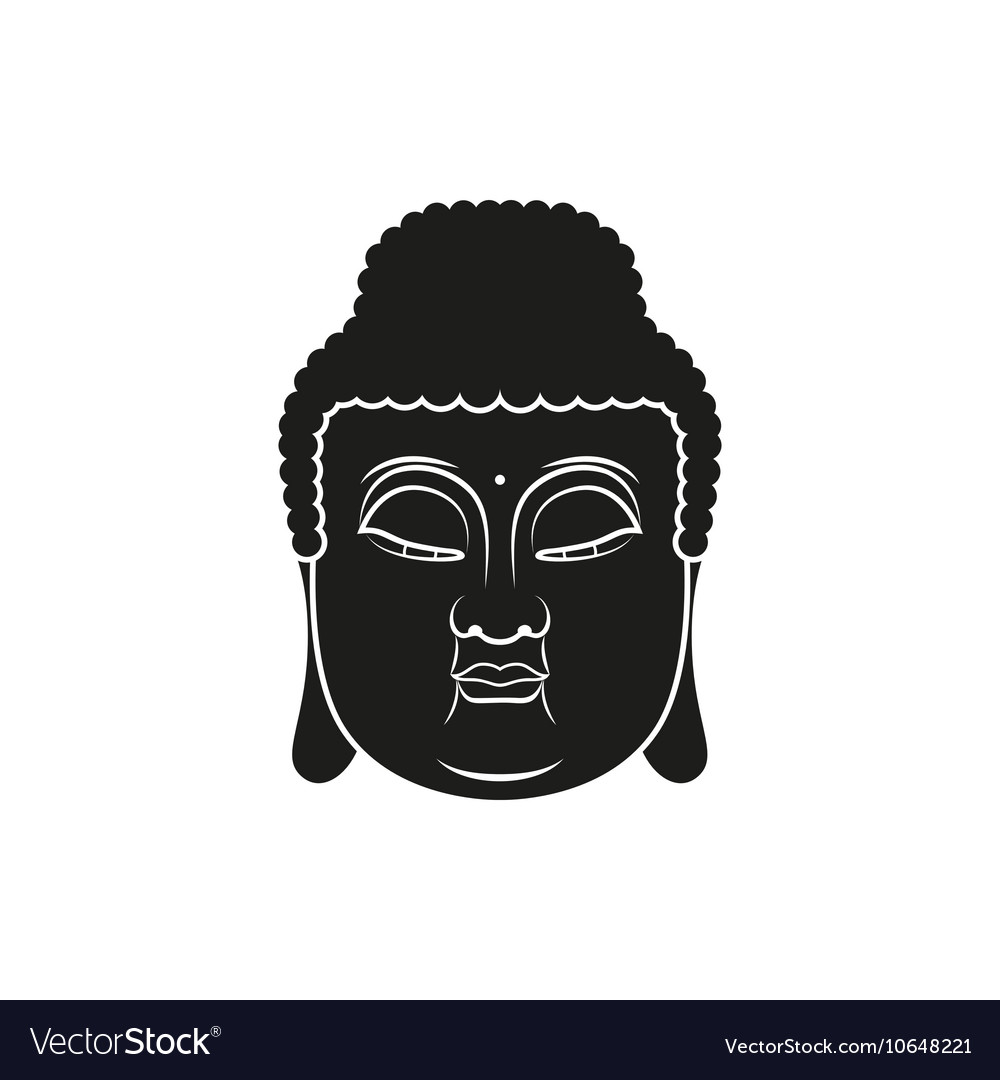 Black head of Buddha with Om mantra isolated