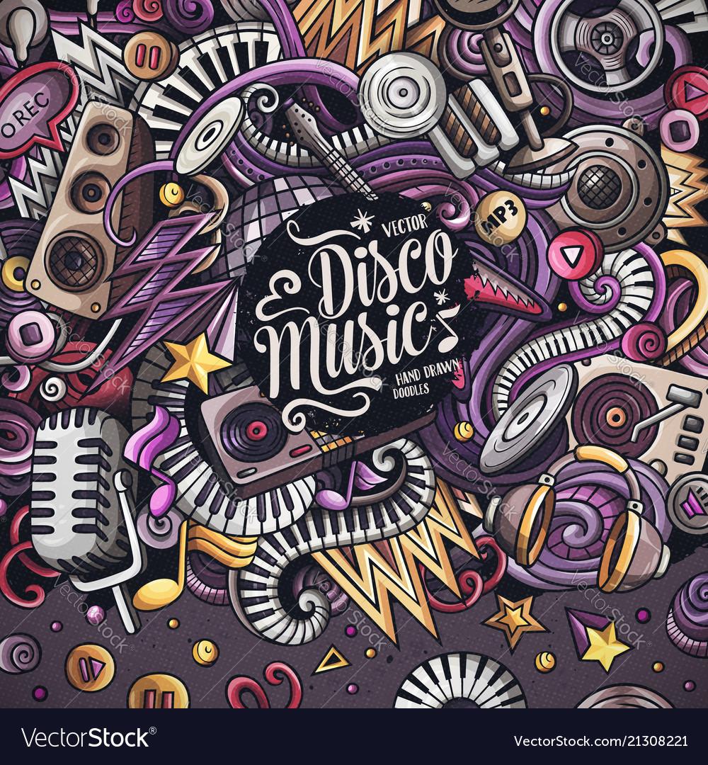 Cartoon doodles disco music frame