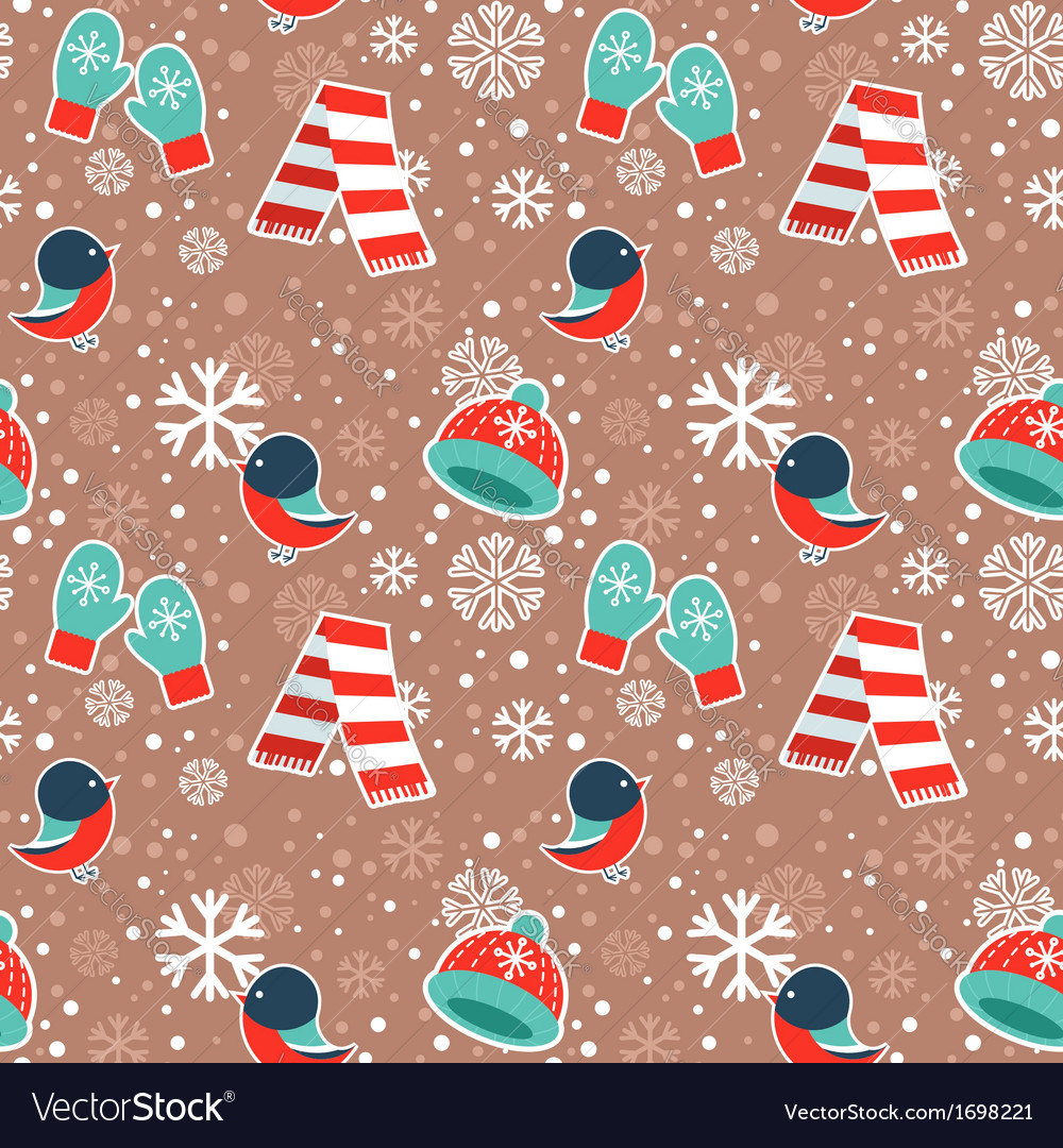 Cute winter seamless pattern with warm clothes
